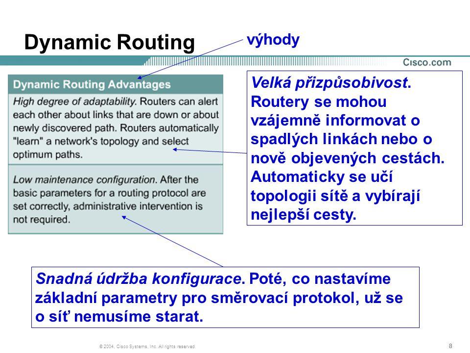 888 © 2004, Cisco Systems, Inc. All rights reserved. Dynamic Routing Velká přizpůsobivost. Routery se mohou vzájemně informovat o spadlých linkách neb