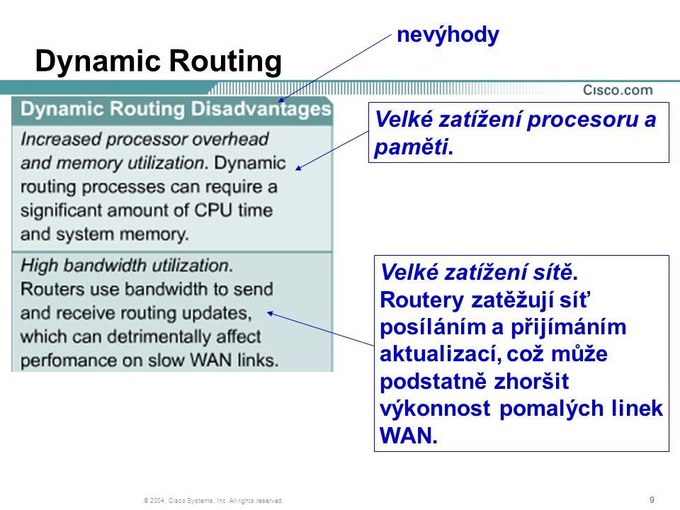 999 © 2004, Cisco Systems, Inc. All rights reserved. Dynamic Routing nevýhody Velké zatížení procesoru a paměti. Velké zatížení sítě. Routery zatěžují