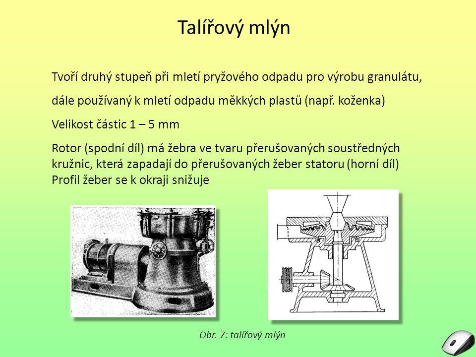 Talířový mlýn Tvoří druhý stupeň při mletí pryžového odpadu pro výrobu granulátu, dále používaný k mletí odpadu měkkých plastů (např. koženka) Velikos