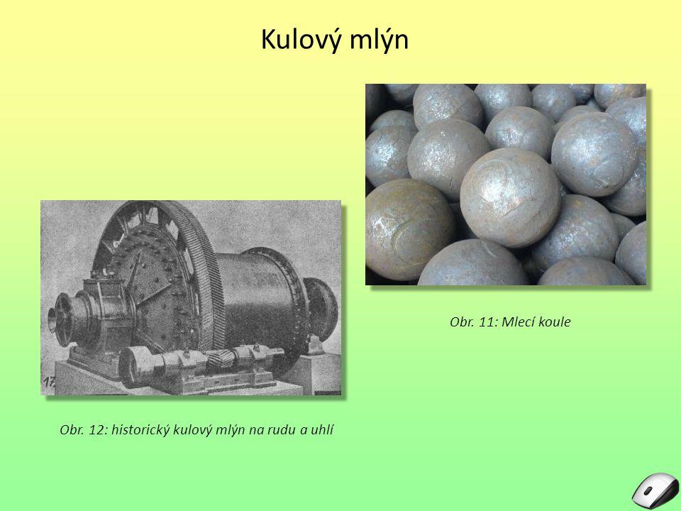 Kulový mlýn Obr. 12: historický kulový mlýn na rudu a uhlí Obr. 11: Mlecí koule