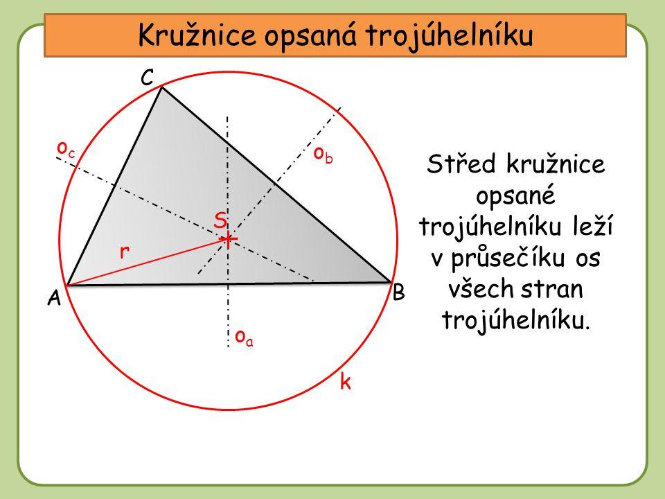 DDtěžnice Kružnice opsaná trojúhelníku A C B obob ococ oaoa Střed kružnice opsané trojúhelníku leží v průsečíku os všech stran trojúhelníku. S r k