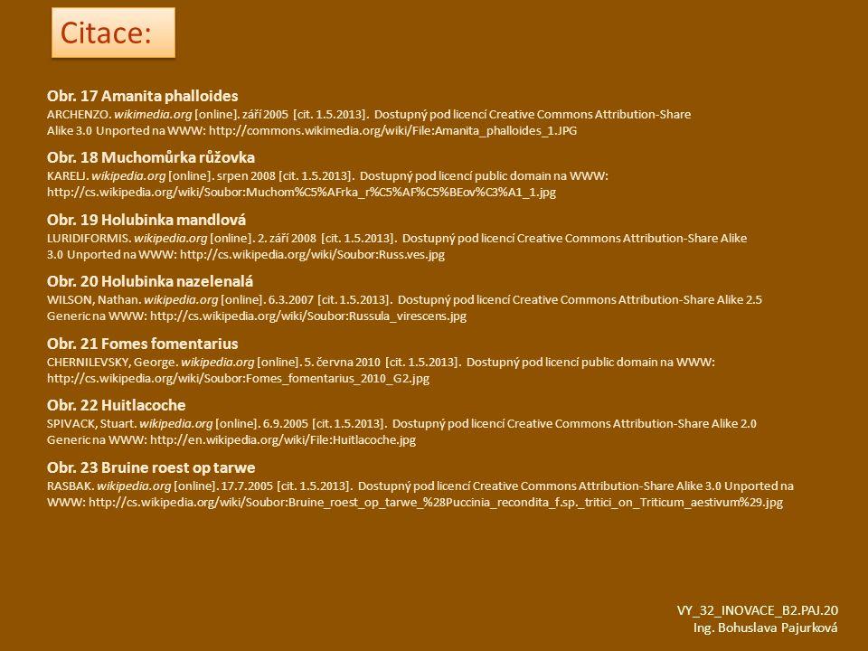 VY_32_INOVACE_B2.PAJ.20 Ing. Bohuslava Pajurková Obr. 17 Amanita phalloides ARCHENZO. wikimedia.org [online]. září 2005 [cit. 1.5.2013]. Dostupný pod