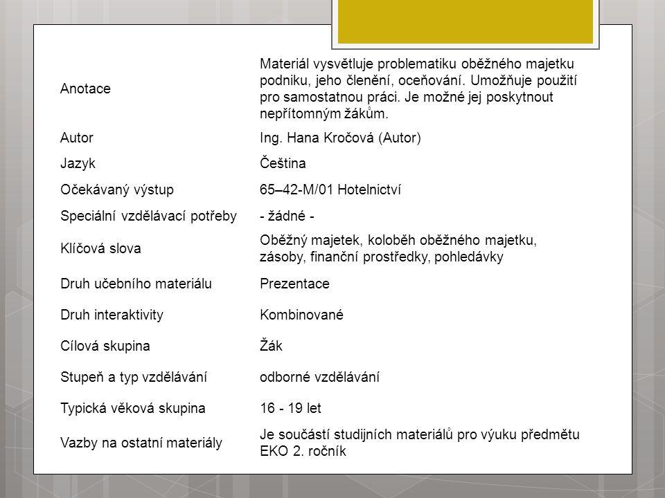 Anotace Materiál vysvětluje problematiku oběžného majetku podniku, jeho členění, oceňování.