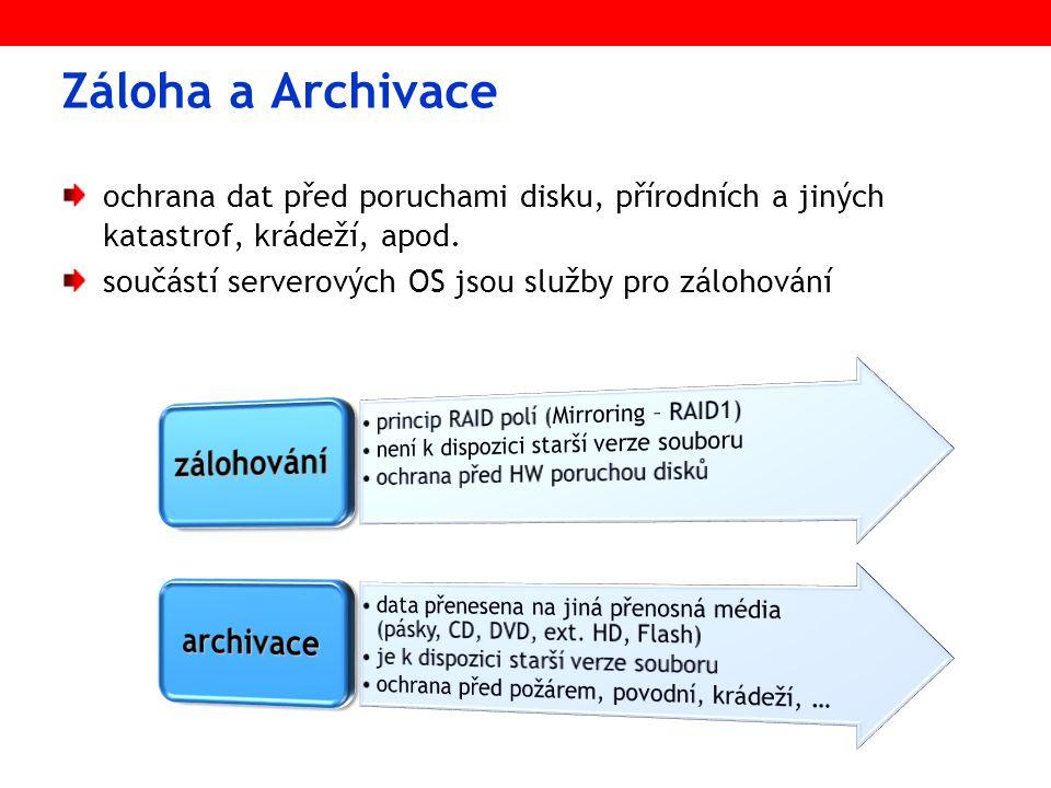 Zálohování – RAID1 - mirroring obsah disku je v reálném čase kopírován na záložní disk ½ diskové kapacity určena pro zálohu (100% redundance) instalace a zprovoznění RAID1 při instalaci NetWare - lze i dodatečně (vypnout/zapnout) stav zrcadlení: MIRROR STATUS (konzolový příkaz) normální data redundantní data