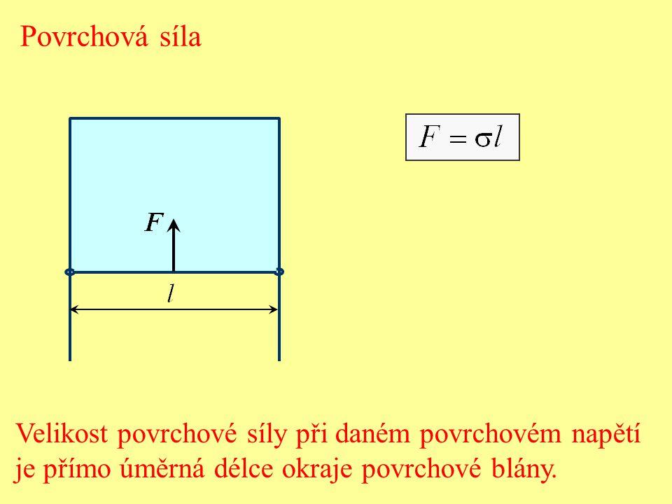Povrchové napětí - se rovná podílu velikosti povrchové síly a délky okraje povrchové blány, na který síla působí kolmo v rovině povrchu kapaliny.