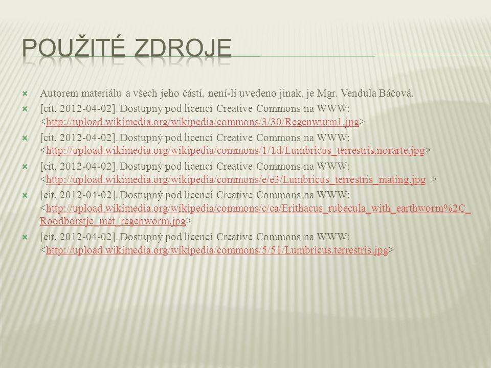  Autorem materiálu a všech jeho částí, není-li uvedeno jinak, je Mgr. Vendula Báčová.  [cit. 2012-04-02]. Dostupný pod licencí Creative Commons na W