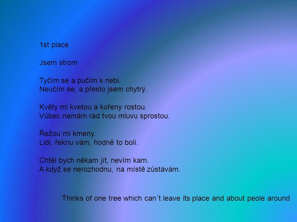 1st place Jsem strom Tyčím se a pučím k nebi. Neučím se, a přesto jsem chytrý.