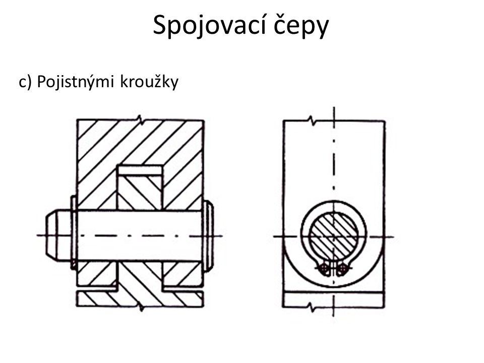 Spojovací čepy c) Pojistnými kroužky