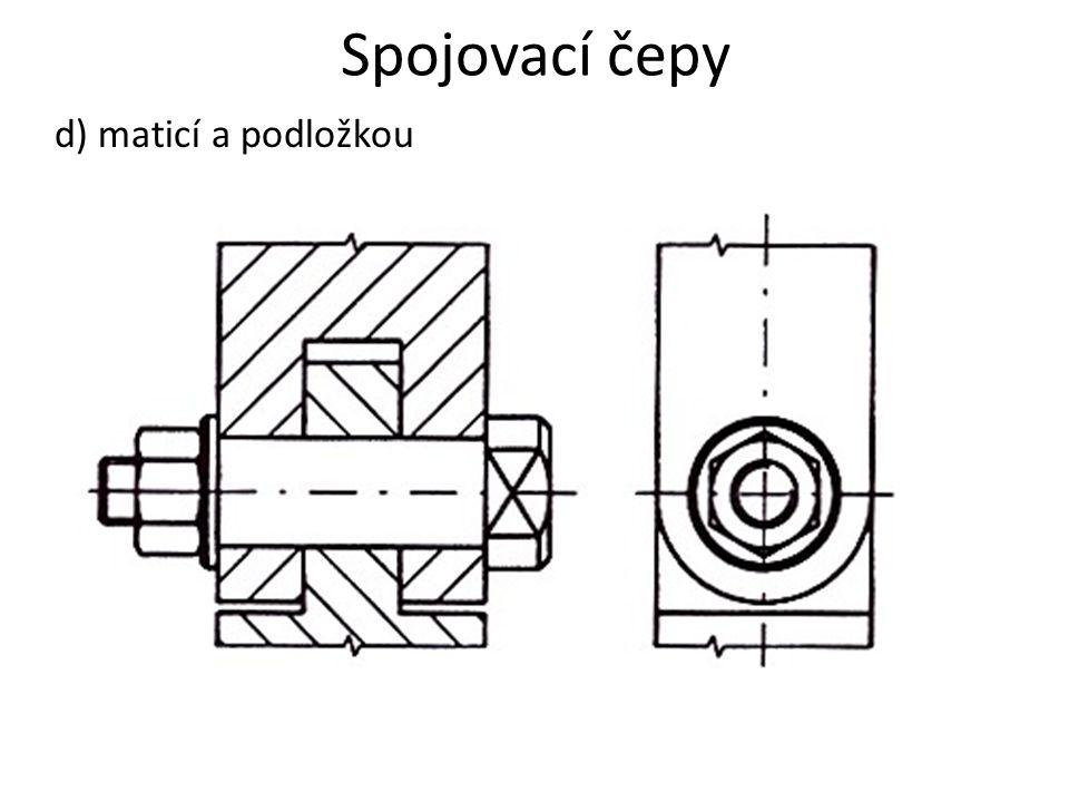 Spojovací čepy d) maticí a podložkou