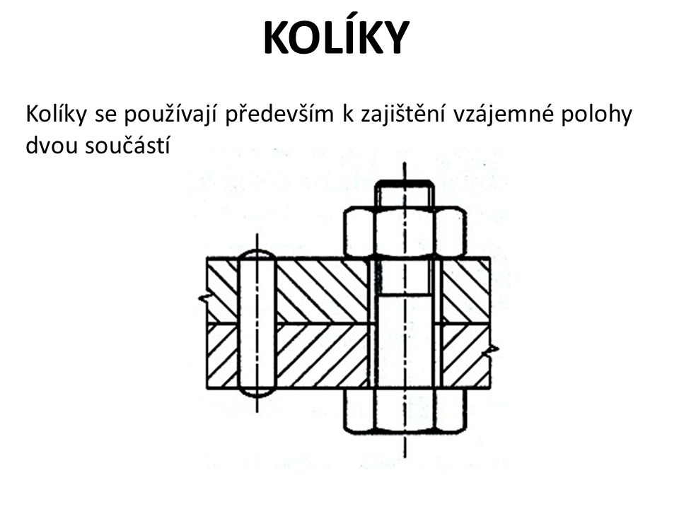 KOLÍKY Kolíky se používají především k zajištění vzájemné polohy dvou součástí