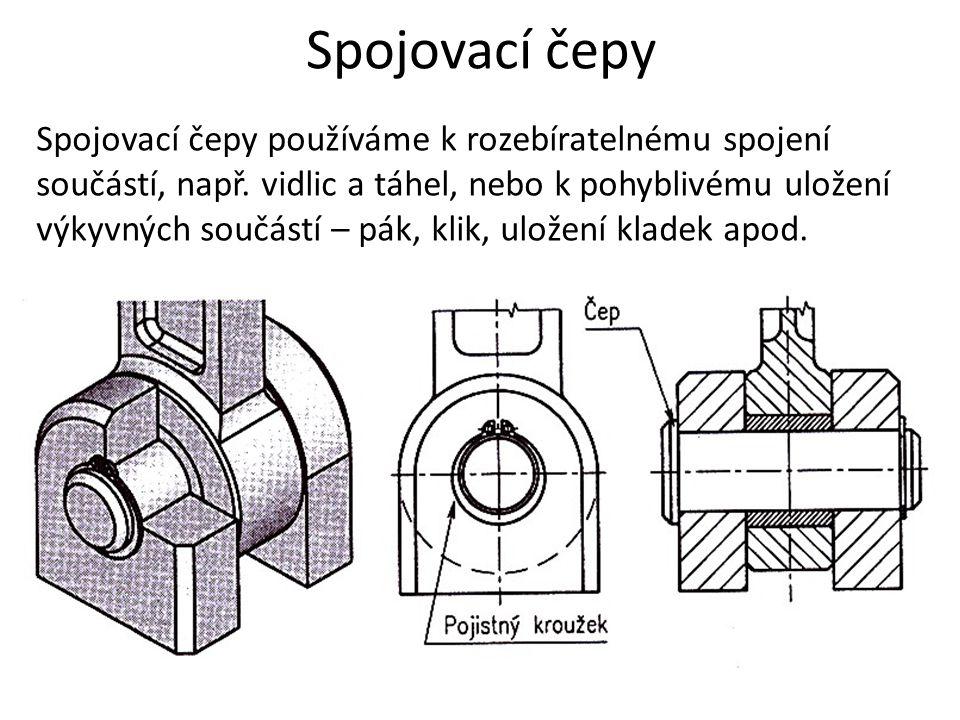Spojovací čepy Spojovací čepy používáme k rozebíratelnému spojení součástí, např.