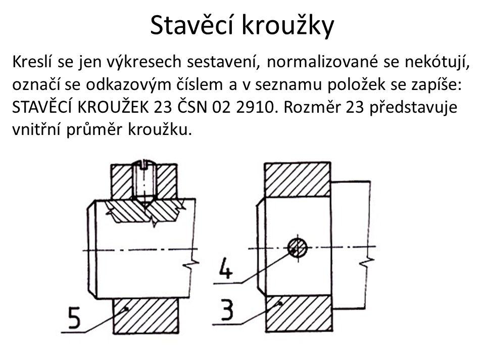 Stavěcí kroužky Kreslí se jen výkresech sestavení, normalizované se nekótují, označí se odkazovým číslem a v seznamu položek se zapíše: STAVĚCÍ KROUŽEK 23 ČSN 02 2910.
