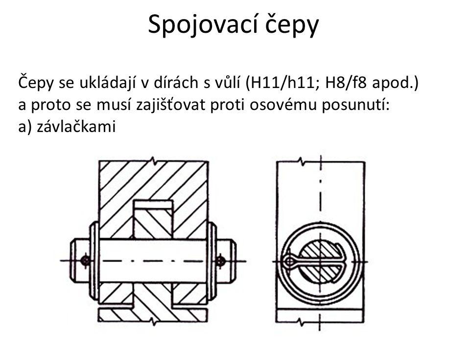 Spojovací čepy Čepy se ukládají v dírách s vůlí (H11/h11; H8/f8 apod.) a proto se musí zajišťovat proti osovému posunutí: a) závlačkami