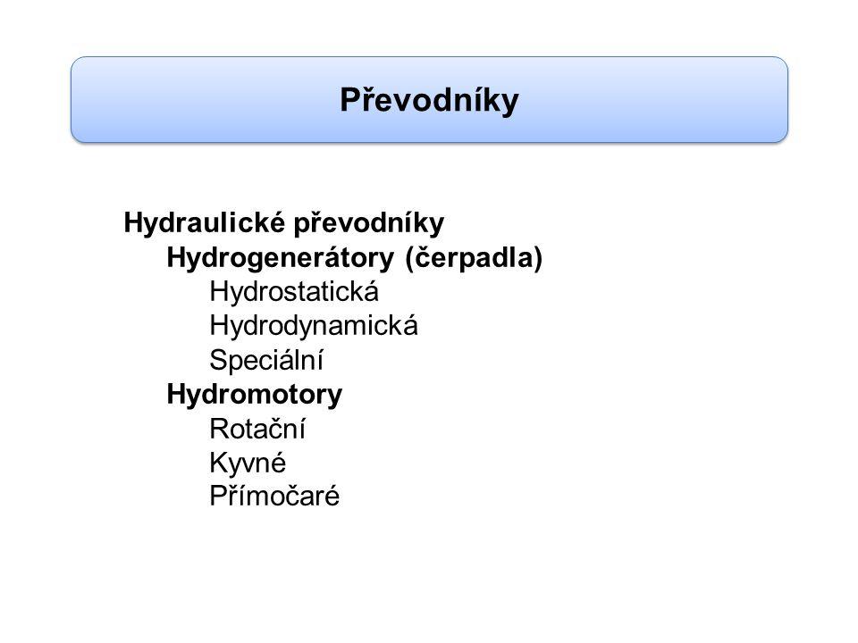 Převodníky Hydraulické převodníky Hydrogenerátory (čerpadla) Hydrostatická Hydrodynamická Speciální Hydromotory Rotační Kyvné Přímočaré