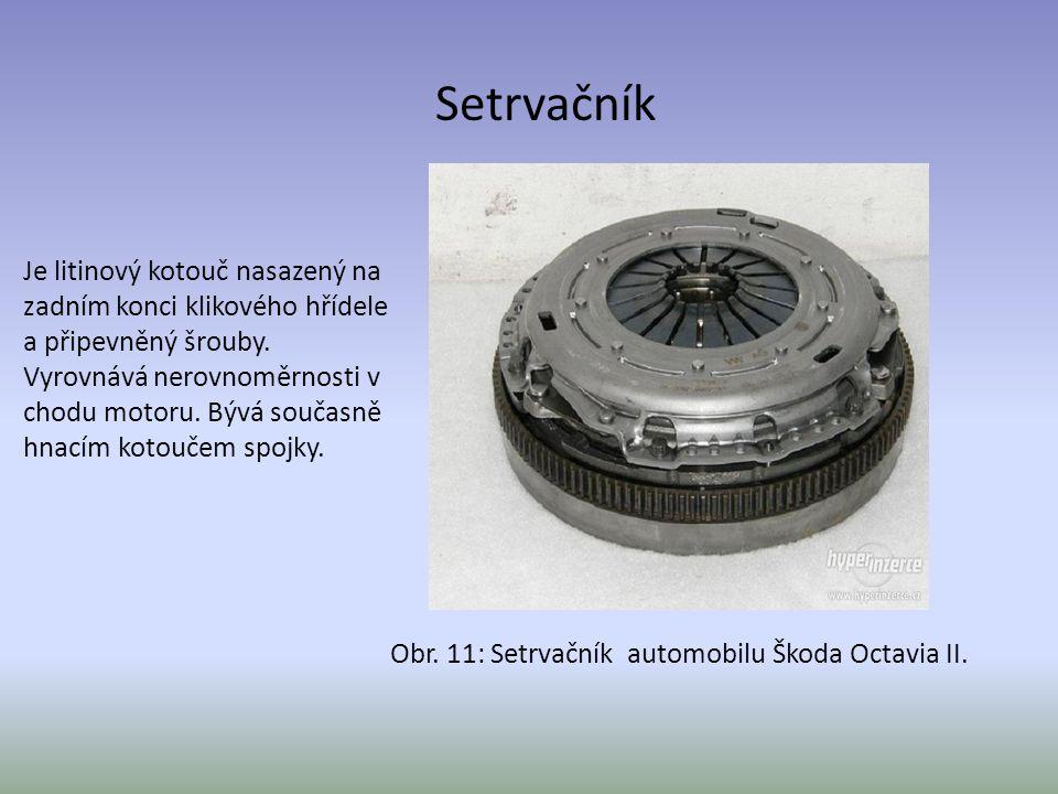 Obr. 11: Setrvačník automobilu Škoda Octavia II. Je litinový kotouč nasazený na zadním konci klikového hřídele a připevněný šrouby. Vyrovnává nerovnom
