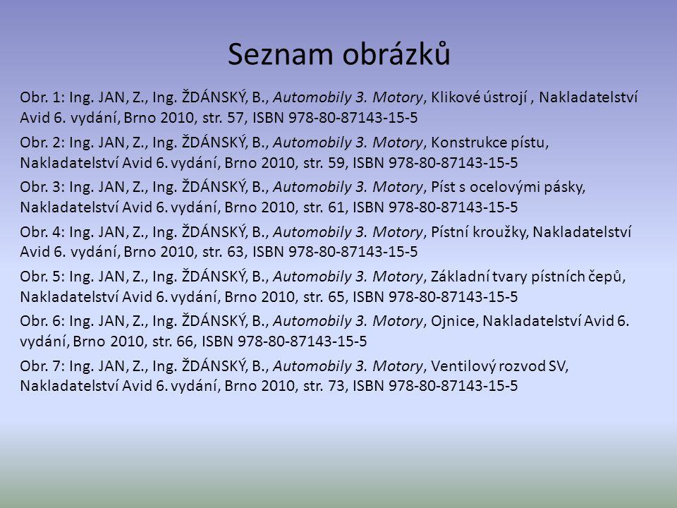 Seznam obrázků Obr. 1: Ing. JAN, Z., Ing. ŽDÁNSKÝ, B., Automobily 3. Motory, Klikové ústrojí, Nakladatelství Avid 6. vydání, Brno 2010, str. 57, ISBN