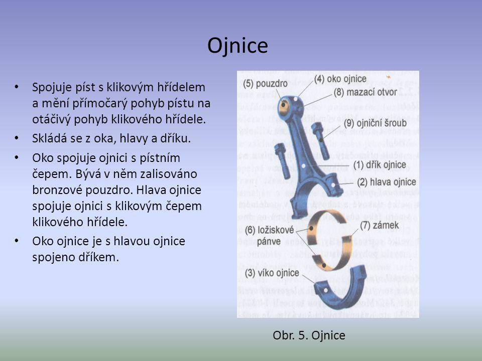 Ojnice Spojuje píst s klikovým hřídelem a mění přímočarý pohyb pístu na otáčivý pohyb klikového hřídele. Skládá se z oka, hlavy a dříku. Oko spojuje o