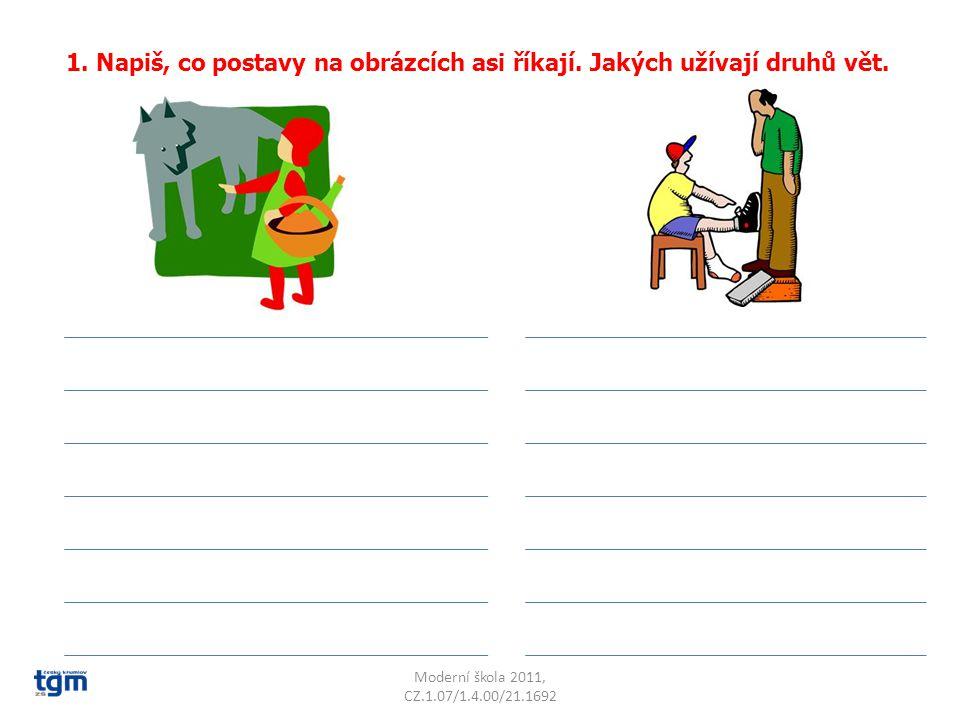 1. Napiš, co postavy na obrázcích asi říkají. Jakých užívají druhů vět.