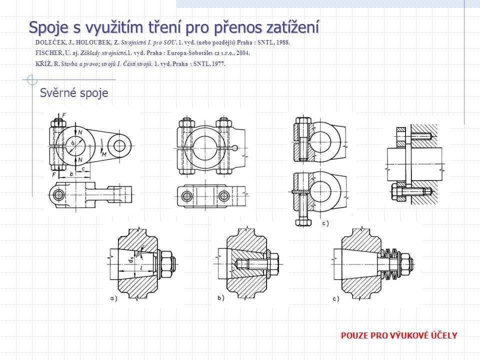 Spoje s využitím tření pro přenos zatížení DOLEČEK, J., HOLOUBEK, Z. Strojnictví I. pro SOU. 1. vyd. (nebo pozdější) Praha : SNTL, 1988. FISCHER, U. a