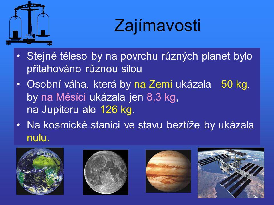Zajímavosti Stejné těleso by na povrchu různých planet bylo přitahováno různou silou Osobní váha, která by na Zemi ukázala 50 kg, by na Měsíci ukázala
