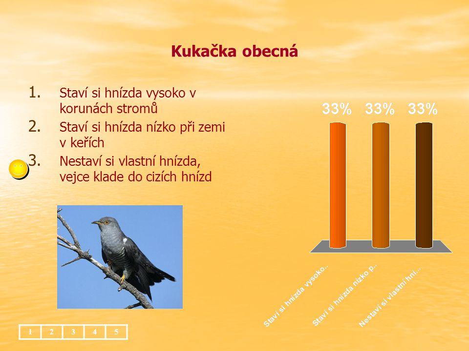 Kukačka obecná 12345 1. 1. Staví si hnízda vysoko v korunách stromů 2. 2. Staví si hnízda nízko při zemi v keřích 3. 3. Nestaví si vlastní hnízda, vej