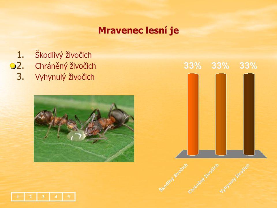 Mravenec lesní je 12345 1. 1. Škodlivý živočich 2. 2. Chráněný živočich 3. 3. Vyhynulý živočich