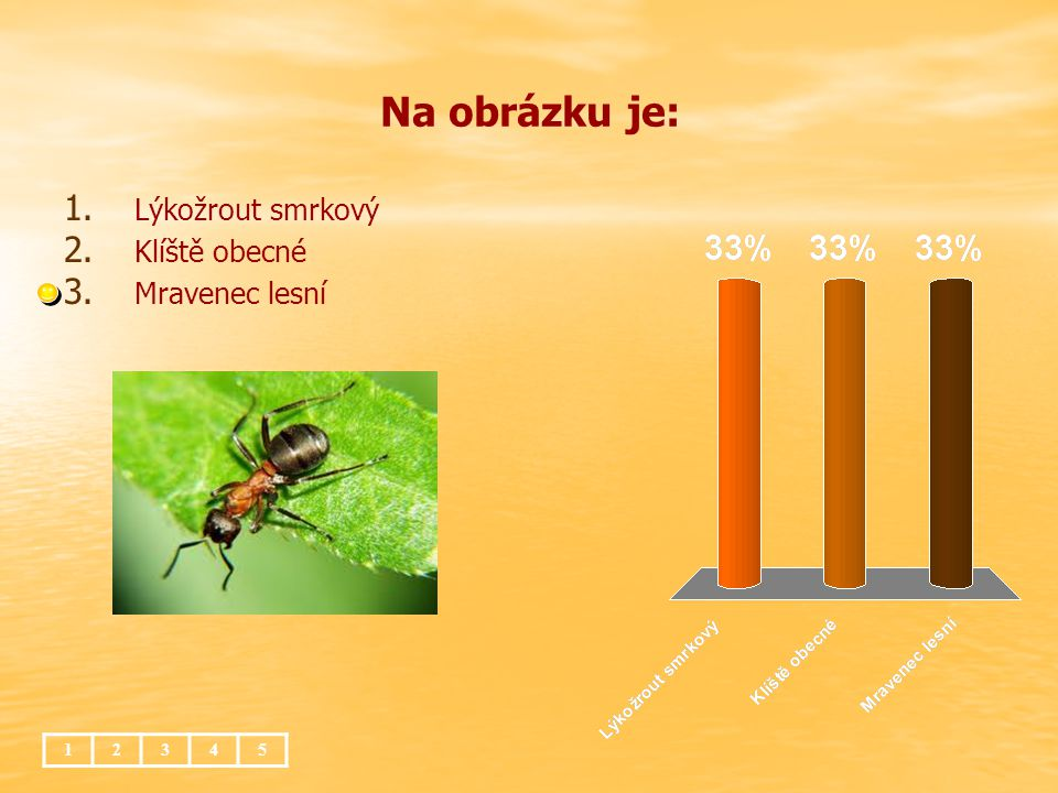 Na obrázku je: 12345 1. 1. Lýkožrout smrkový 2. 2. Klíště obecné 3. 3. Mravenec lesní
