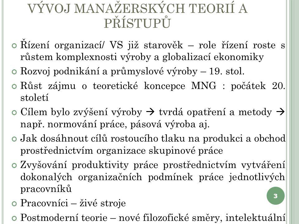 H LAVNÍ ŠKOLY MANAGEMENTU Vědecký přístup k managementuPředstavitelé Klasická teorie MNGRobert Owen, Charles Babbage (18stol) Vědecký MNG F.