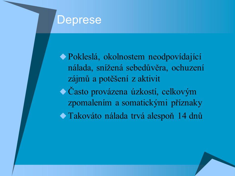 Deprese  Pokleslá, okolnostem neodpovídající nálada, snížená sebedůvěra, ochuzení zájmů a potěšení z aktivit  Často provázena úzkostí, celkovým zpomalením a somatickými příznaky  Takováto nálada trvá alespoň 14 dnů