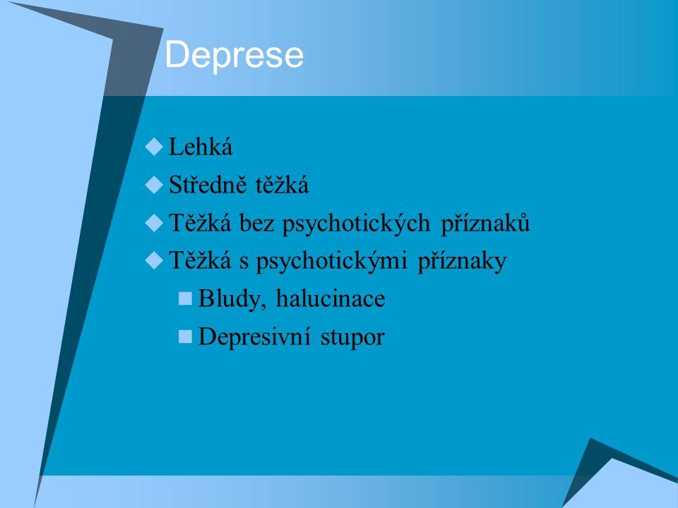 Deprese  Lehká  Středně těžká  Těžká bez psychotických příznaků  Těžká s psychotickými příznaky Bludy, halucinace Depresivní stupor