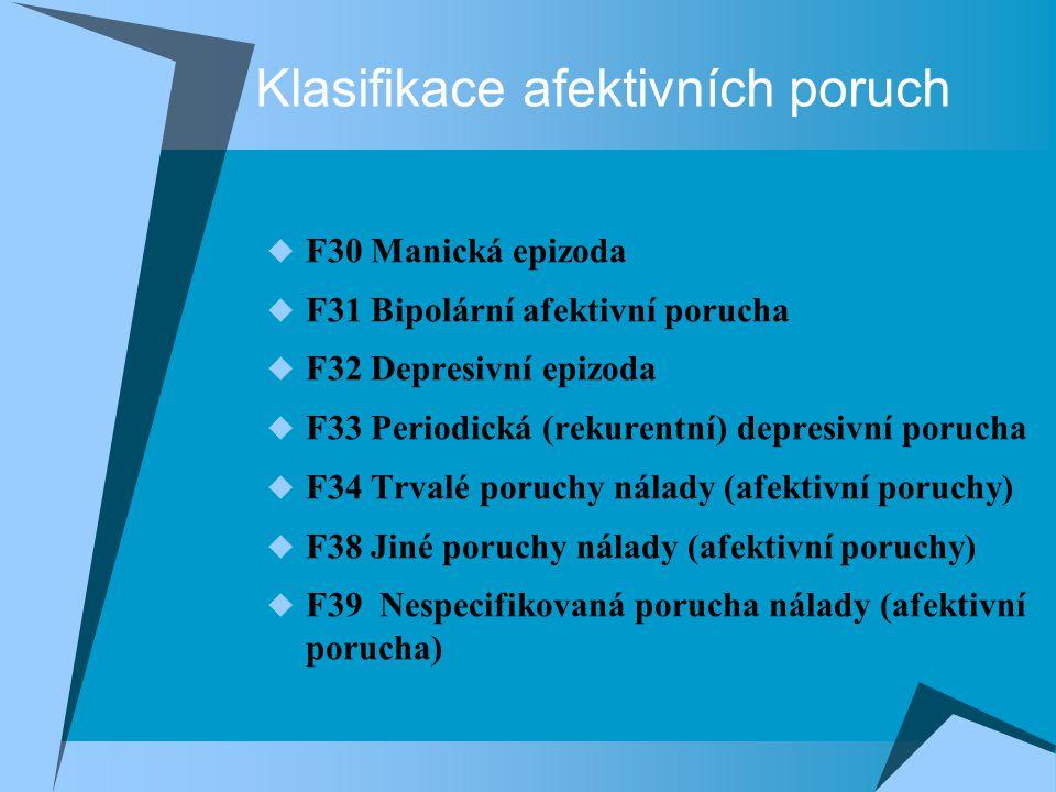 Klasifikace afektivních poruch  F30 Manická epizoda  F31 Bipolární afektivní porucha  F32 Depresivní epizoda  F33 Periodická (rekurentní) depresivní porucha  F34 Trvalé poruchy nálady (afektivní poruchy)  F38 Jiné poruchy nálady (afektivní poruchy)  F39 Nespecifikovaná porucha nálady (afektivní porucha)