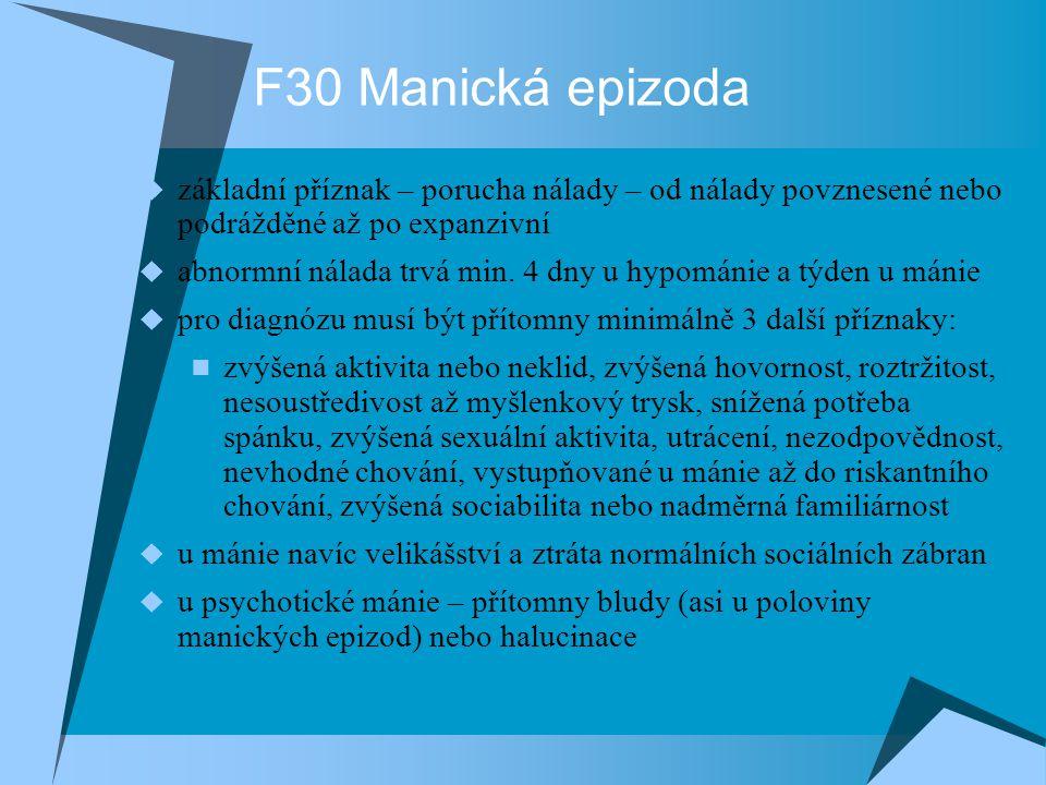 F30 Manická epizoda F30.0 Hypománie F30.1 Mánie bez psychotických symptomů F30.2 Mánie s psychotickými symptomy F30.8 Jiné manické epizody F30.9 Manická epizoda nespecifikovaná