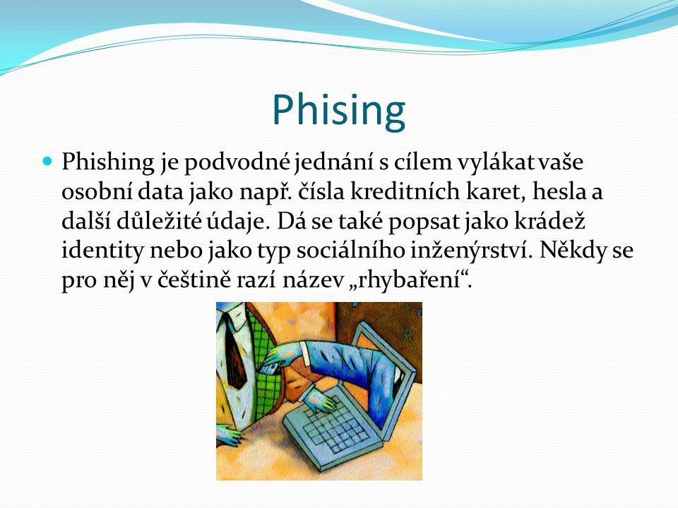 Phising Phishing je podvodné jednání s cílem vylákat vaše osobní data jako např. čísla kreditních karet, hesla a další důležité údaje. Dá se také pops