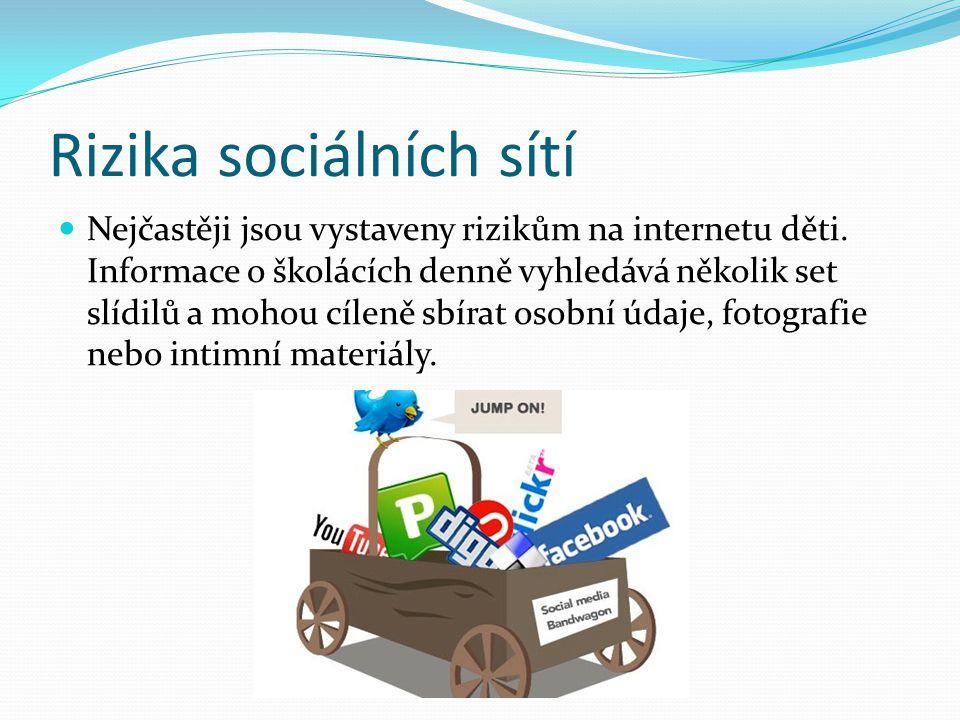 Rizika sociálních sítí Nejčastěji jsou vystaveny rizikům na internetu děti. Informace o školácích denně vyhledává několik set slídilů a mohou cíleně s