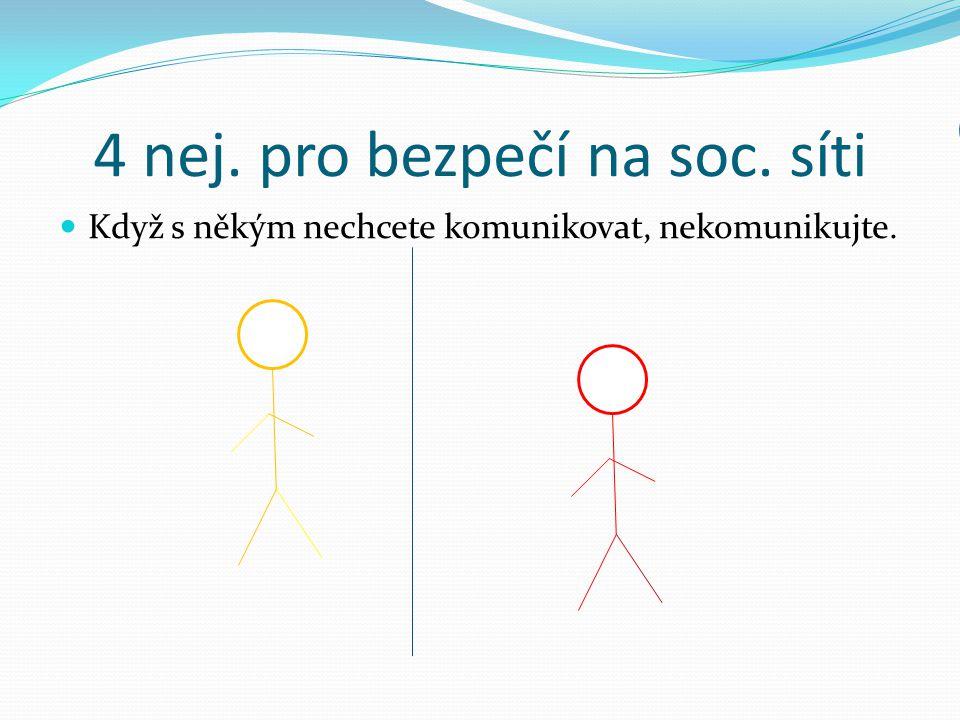 4 nej. pro bezpečí na soc. síti Když s někým nechcete komunikovat, nekomunikujte. Popíšeme? Nemám zájem