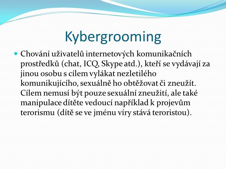 Kybergrooming Chování uživatelů internetových komunikačních prostředků (chat, ICQ, Skype atd.), kteří se vydávají za jinou osobu s cílem vylákat nezle