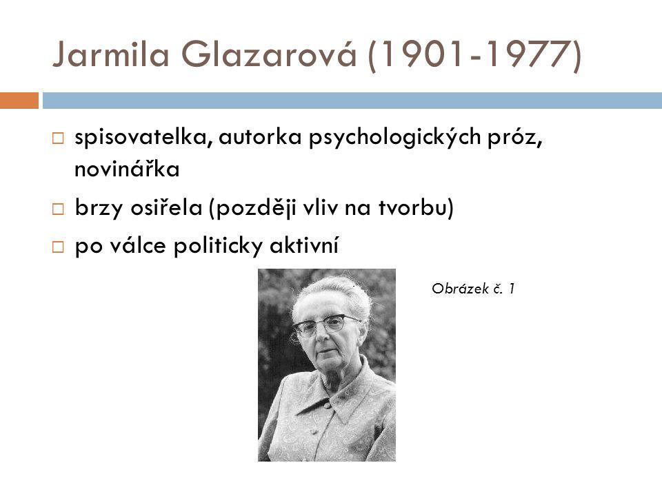 Jarmila Glazarová (1901-1977)  spisovatelka, autorka psychologických próz, novinářka  brzy osiřela (později vliv na tvorbu)  po válce politicky akt