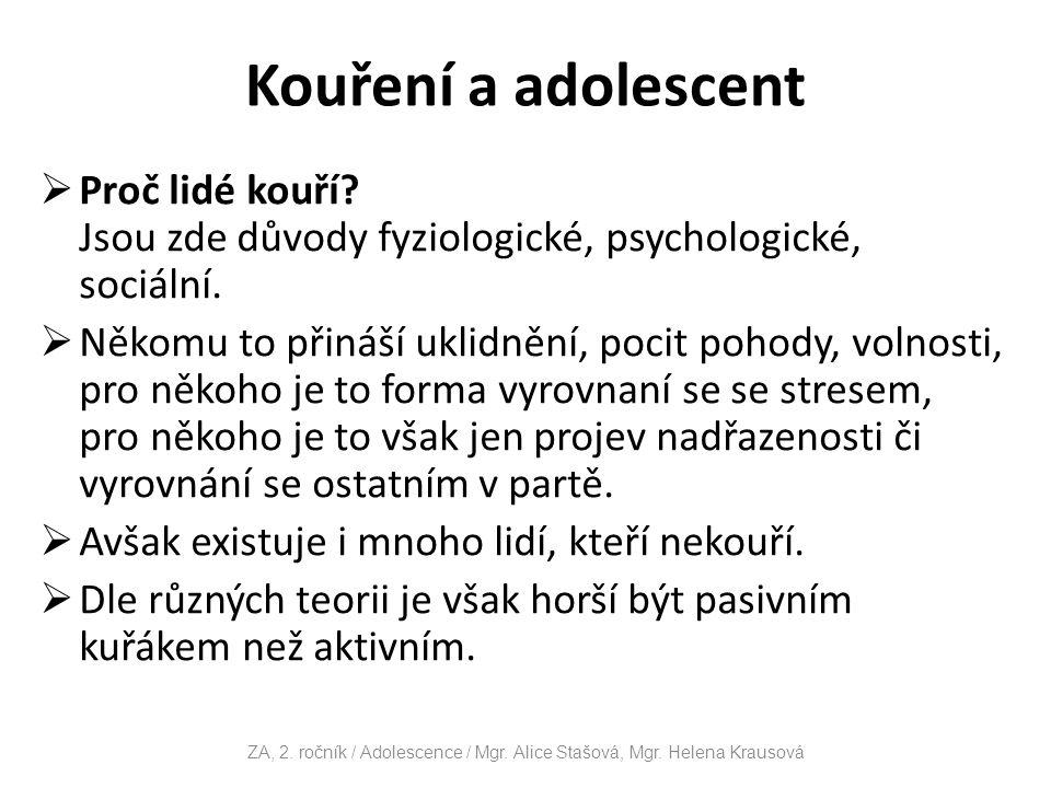 Kouření a adolescent  Proč lidé kouří.Jsou zde důvody fyziologické, psychologické, sociální.