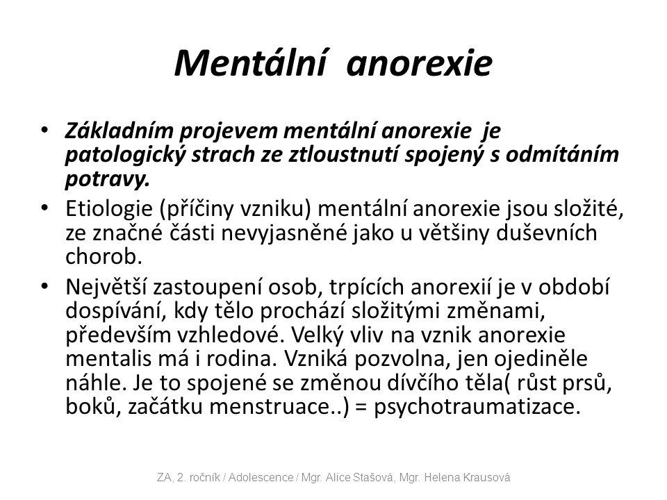 Mentální anorexie Základním projevem mentální anorexie je patologický strach ze ztloustnutí spojený s odmítáním potravy.