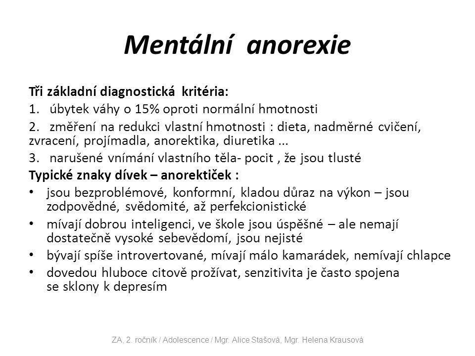 Mentální anorexie Tři základní diagnostická kritéria: 1.
