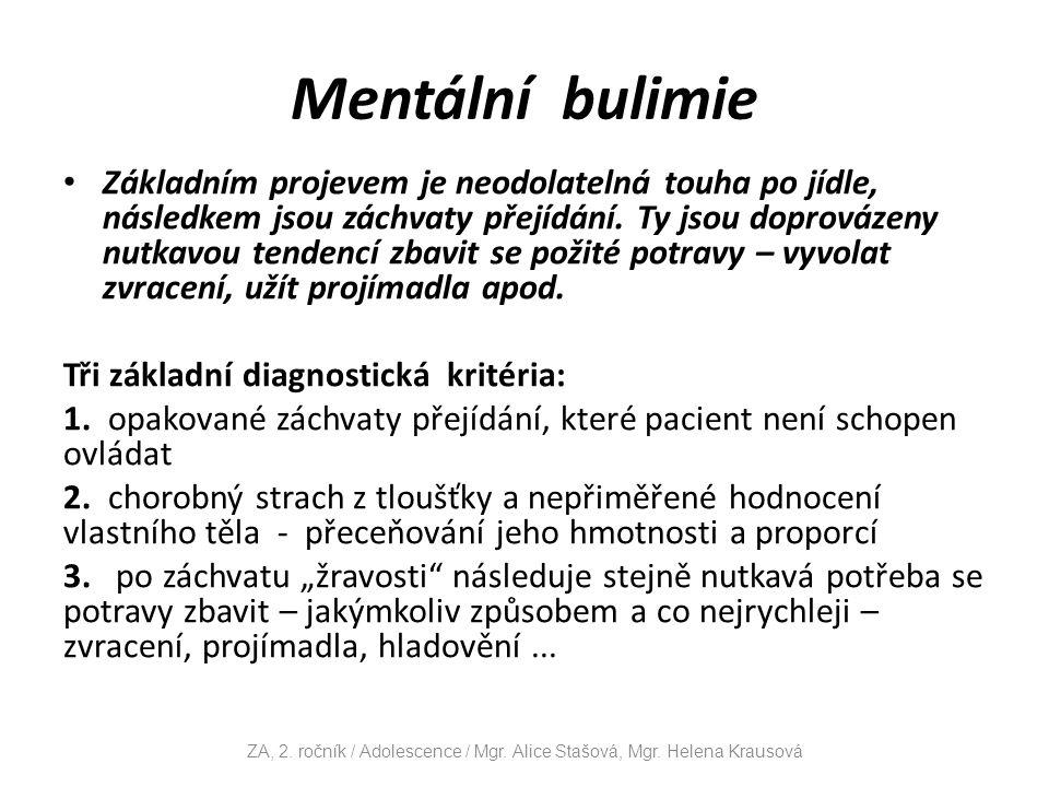 Mentální bulimie Základním projevem je neodolatelná touha po jídle, následkem jsou záchvaty přejídání.