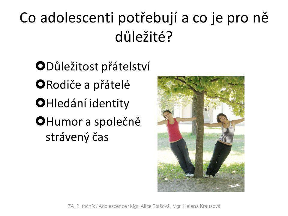 Charakteristické znaky pro přechod mezi pubertou a dospíváním Osvobození od rodičů Přesun pozornosti od rodiny k vrstevníkům Identifikace s určitými typy hudby, vzory mládeže, atd.