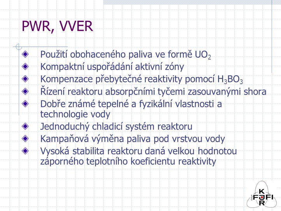 PWR, VVER Použití obohaceného paliva ve formě UO 2 Kompaktní uspořádání aktivní zóny Kompenzace přebytečné reaktivity pomocí H 3 BO 3 Řízení reaktoru absorpčními tyčemi zasouvanými shora Dobře známé tepelné a fyzikální vlastnosti a technologie vody Jednoduchý chladicí systém reaktoru Kampaňová výměna paliva pod vrstvou vody Vysoká stabilita reaktoru daná velkou hodnotou záporného teplotního koeficientu reaktivity