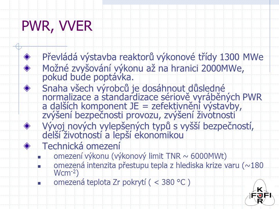 PWR, VVER Převládá výstavba reaktorů výkonové třídy 1300 MWe Možné zvyšování výkonu až na hranici 2000MWe, pokud bude poptávka.