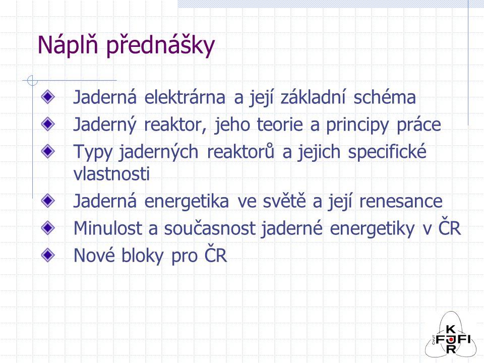 Náplň přednášky Jaderná elektrárna a její základní schéma Jaderný reaktor, jeho teorie a principy práce Typy jaderných reaktorů a jejich specifické vlastnosti Jaderná energetika ve světě a její renesance Minulost a současnost jaderné energetiky v ČR Nové bloky pro ČR
