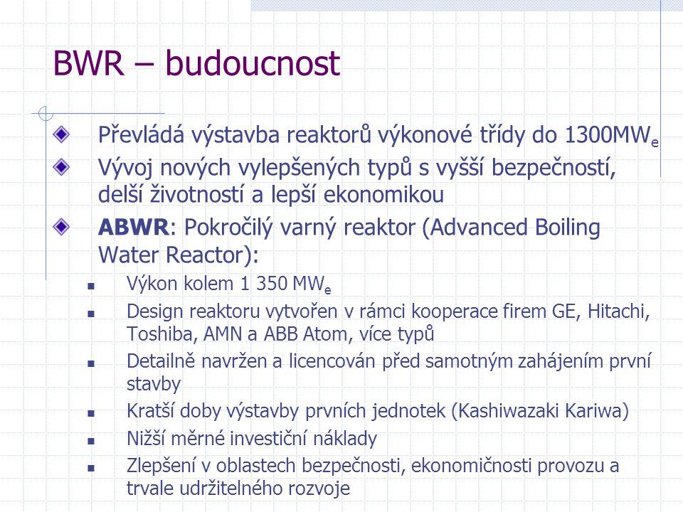 BWR – budoucnost Převládá výstavba reaktorů výkonové třídy do 1300MW e Vývoj nových vylepšených typů s vyšší bezpečností, delší životností a lepší ekonomikou ABWR: Pokročilý varný reaktor (Advanced Boiling Water Reactor): Výkon kolem 1 350 MW e Design reaktoru vytvořen v rámci kooperace firem GE, Hitachi, Toshiba, AMN a ABB Atom, více typů Detailně navržen a licencován před samotným zahájením první stavby Kratší doby výstavby prvních jednotek (Kashiwazaki Kariwa) Nižší měrné investiční náklady Zlepšení v oblastech bezpečnosti, ekonomičnosti provozu a trvale udržitelného rozvoje