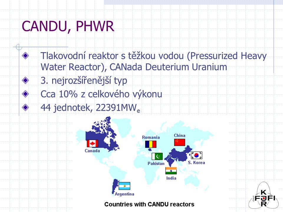 CANDU, PHWR Tlakovodní reaktor s těžkou vodou (Pressurized Heavy Water Reactor), CANada Deuterium Uranium 3.