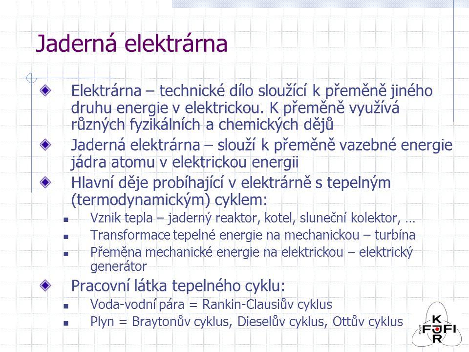 Jaderná elektrárna Elektrárna – technické dílo sloužící k přeměně jiného druhu energie v elektrickou.