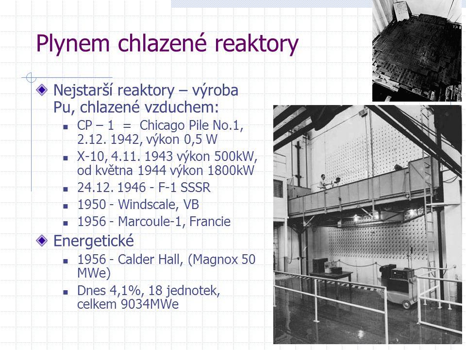 Plynem chlazené reaktory Nejstarší reaktory – výroba Pu, chlazené vzduchem: CP – 1 = Chicago Pile No.1, 2.12.