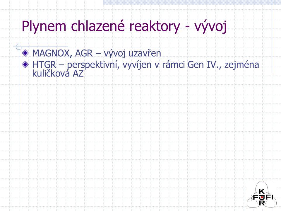 Plynem chlazené reaktory - vývoj MAGNOX, AGR – vývoj uzavřen HTGR – perspektivní, vyvíjen v rámci Gen IV., zejména kuličková AZ